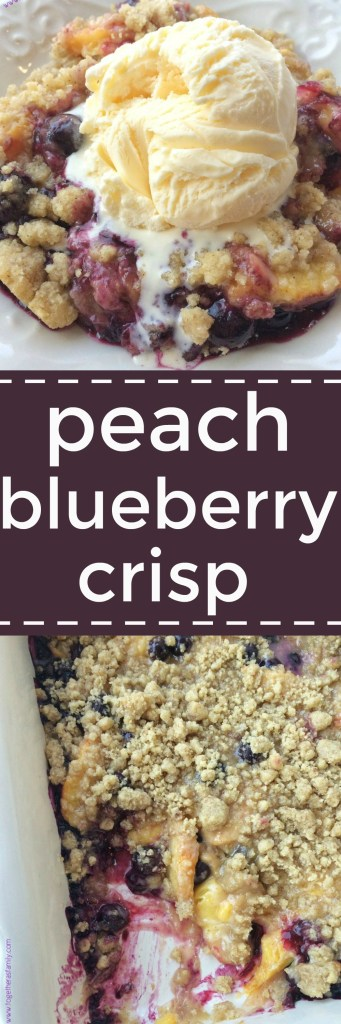Juicy, fresh peaches and blueberries covered in a butter & brown sugar crumble that crisps up in the oven. This peach blueberry crisp will become a summertime favorite dessert with all the ripe produce. Don't forget to top it off with some vanilla bean ice cream!