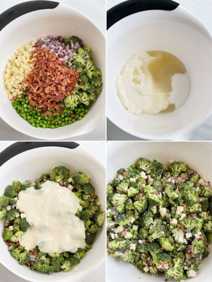 How to make bacon broccoli salad with step by step picture instructions.
