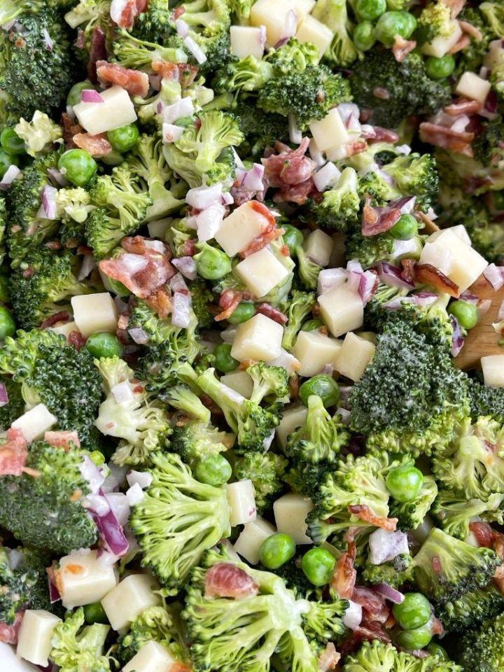 Bacon broccoli salad with fresh broccoli, mozzarella cheese chunks, in a sweet mayo dressing.