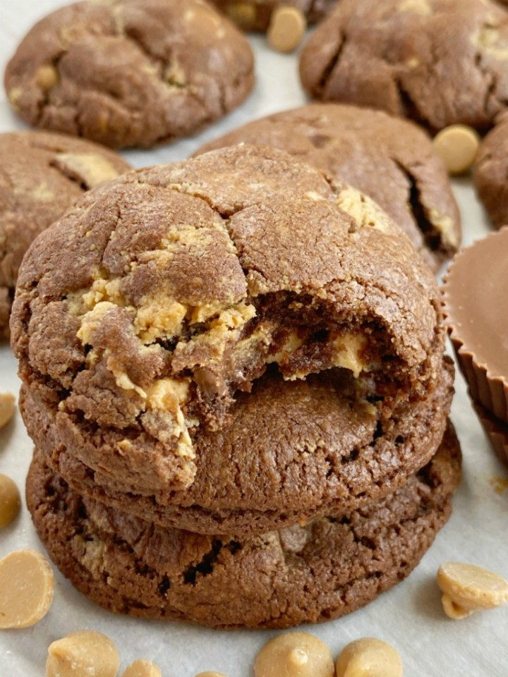 Chocolate cookies stuffed with Reese's peanut butter cups and peanut butter chips.