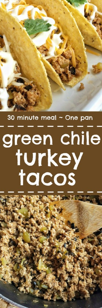 Change up traditional tacos with these green chili turkey tacos. Flavorful ground turkey with green chiles and chopped olives. Top with shredded cheese, sour cream, and avocado for an easy 30-minute and one pan dinner!