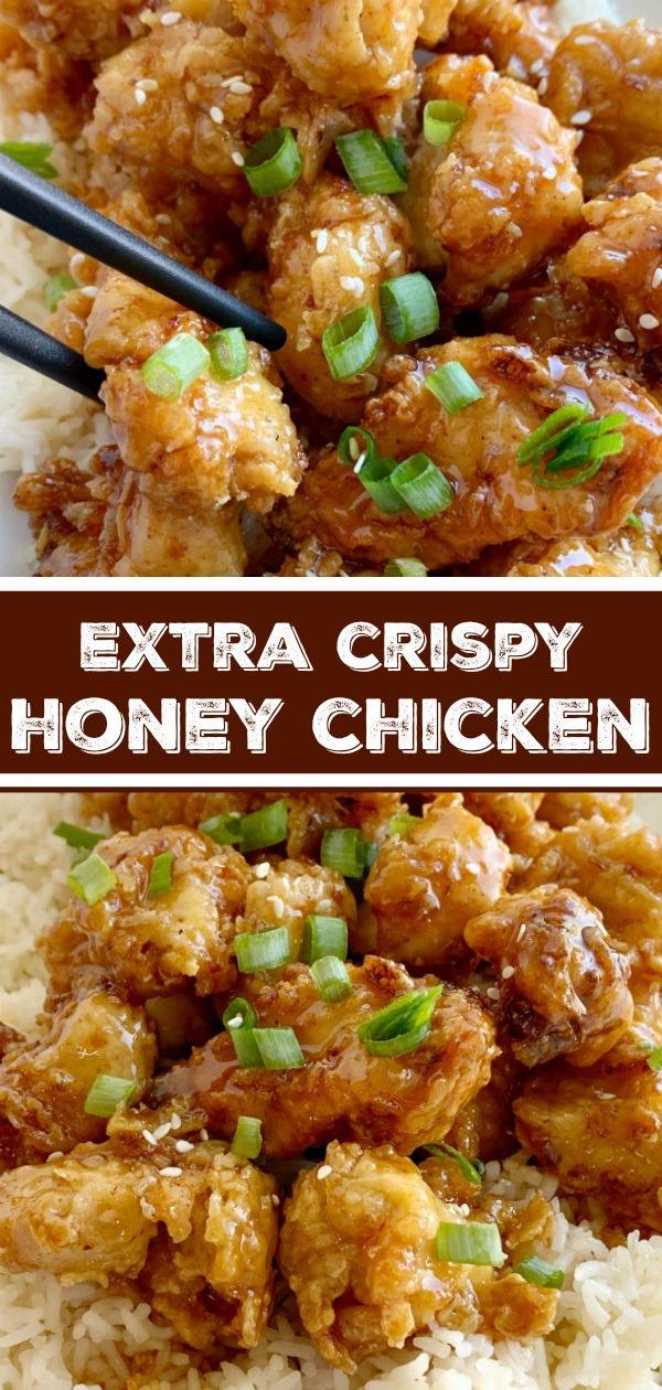 Crispy Honey Chicken | Honey Chicken has the crispiest, most delicious coating ever! Chunks of chicken dipped in seasoned flour & buttermilk, and then pan fried to crispy chicken perfection. Cover the crispy honey chicken in a sweet homemade honey sauce and serve over rice! #chicken #chickenrecipes #dinner #friedfood #recipeoftheday