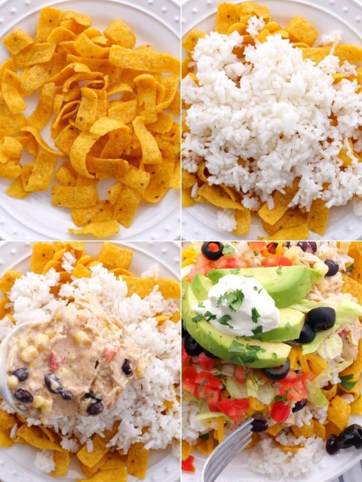 How to assemble and make chicken Mexican Haystacks.