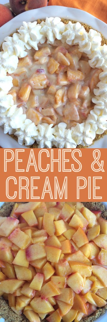 Graham cracker crust, fresh peaches, sweetened condensed milk, and fresh whipped cream!