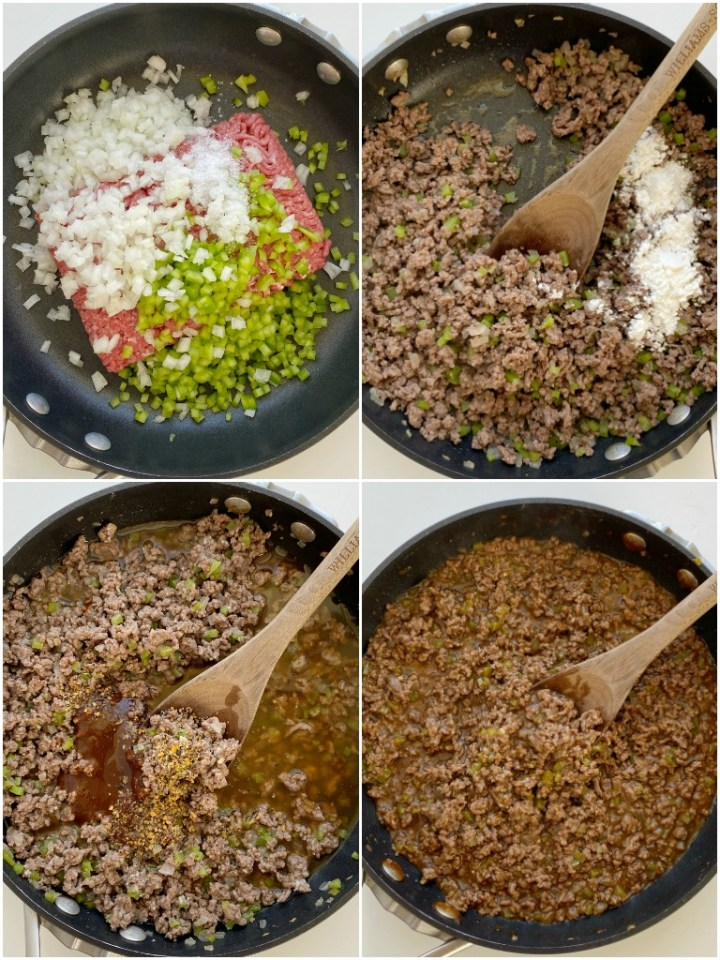 Philly Cheesesteak Sloppy Joes are a 30 minute dinner recipe. Ground beef simmers in one pan with onion, green pepper, beef broth, A-1 sauce, and steak seasoning. Serve on toasted buns with sliced provolone cheese.