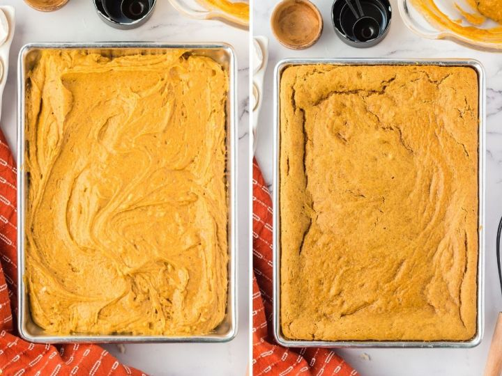 Raw pumpkin batter on one pan and the other picture shows it after it has cooked in the pan.