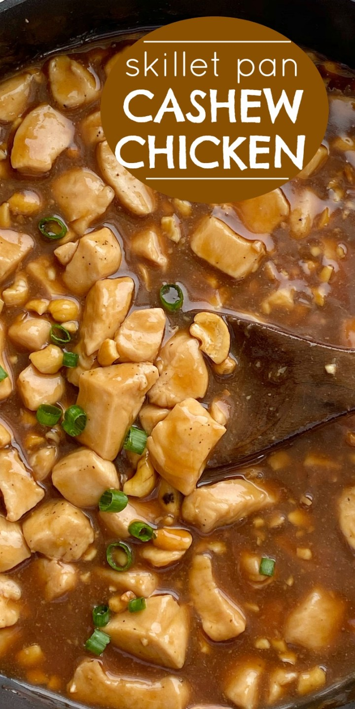 Cashew Chicken Recipe | Cashew Chicken is made in a skillet on the stove top! Tender, flavorful chicken in an easy homemade sauce and loaded with cashews. This easy, one pot dinner recipe can be ready in just 30 minutes. #dinnerrecipe #chickenrecipes #cashewchicken #skillet #onepot #recipeoftheday