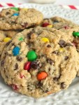 The Best Monster Cookies   Monster Cookies   Cookies   The best monster cookies are loaded with peanut butter, oats, chocolate chips, and m&m's! They are thick, chewy, and a soft-baked cookie, with a surprise ingredient, that are addictive and delicious. #cookies #dessert #dessertrecipes #thebestrecipes