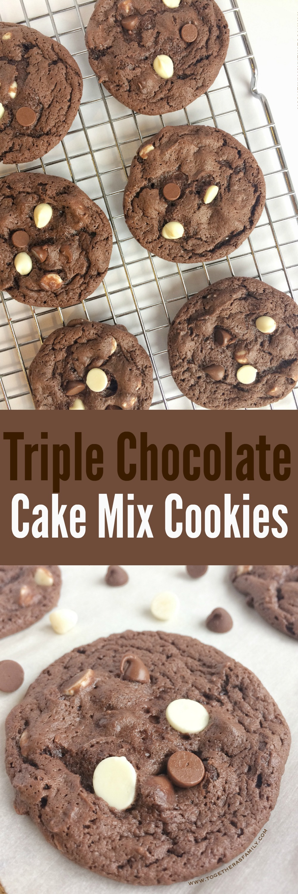 Triple Chocolate Cake Mix Cookies - Together as Family