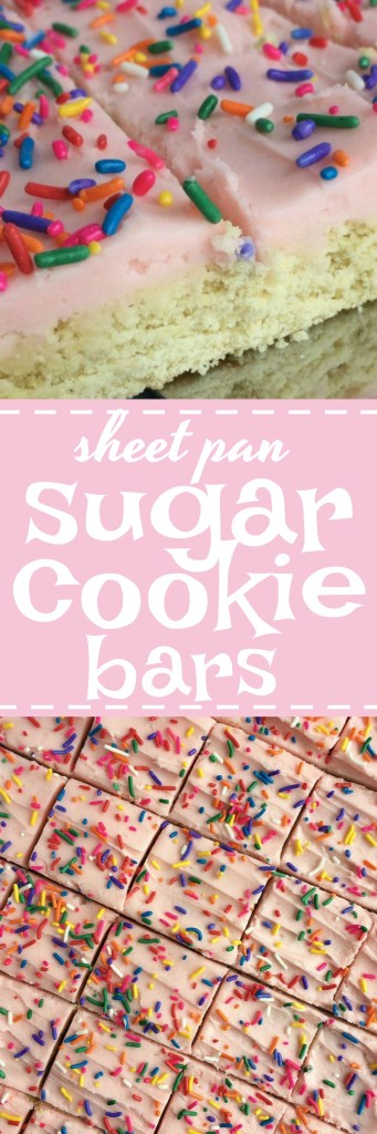 Soft, thick sugar cookie bars that are baked in asheet panand perfect for a large crowd. Change up the frosting color & sprinkles for different events, parties, and/or birthdays!
