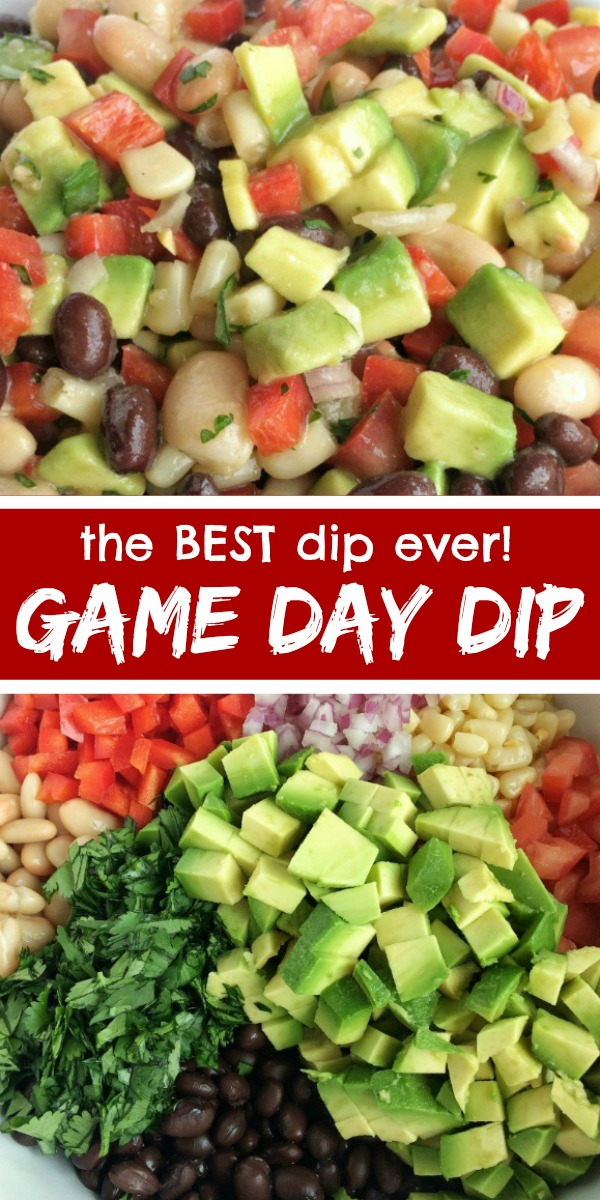 Game Day Dip | Caviar Dip | Appetizer | Dip Recipe | No party is complete without this addictive, super simple, and delicious game day dip! Full of beans, corn, avocado, red onion, tomatoes, and a surprise ingredient… Italian salad dressing. #diprecipe #appetizer #footballfood #easyrecipe