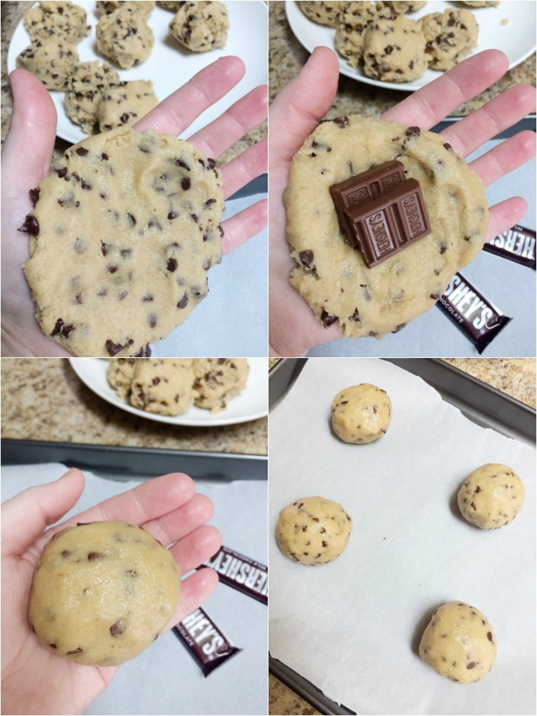Giant Chocolate Stuffed Chocolate Chip Cookies - Together as Family