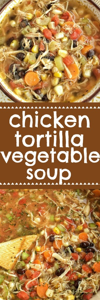 The southwest flavors that you love about chicken tortilla soup combined with healthy, hearty vegetables and spices. Thischicken tortilla vegetable soupis so delicious and sure to be a family favorite. Top with crispy corn tortilla strips and cilantro | www.togetherasfamily.com #souprecipes #tortillasoup #vegetablesoup #recipes