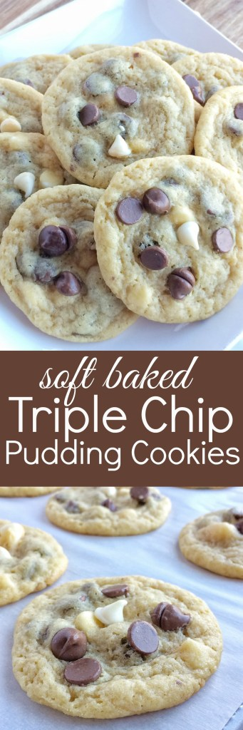 Soft baked cookies have vanilla pudding mix in the dough and 3 kinds of chocolate chips! These triple chip pudding cookies are so incredibly soft, full of 3 kinds of chocolate, and they make the perfect ice cream cookie sandwiches.