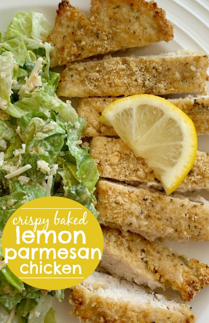 Crispy Baked Lemon Parmesan Chicken | Baked Chicken with a crispy lemon parmesan coating. Boneless skinless chicken breasts, fresh lemon, garlic, Italian breadcrumbs, and parmesan cheese make for the most flavorful crispy baked coating on chicken. It's a family favorite! #chicken #chickenrecipes #dinner #bakedchicken