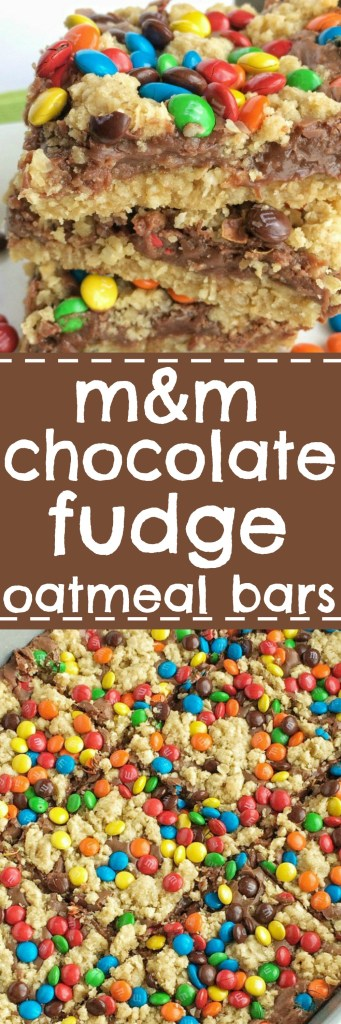 M&M Chocolate Fudge Oatmeal Bars have a buttery sweet oatmeal crust with a chocolate fudge middle, and topped with more oatmeal crumble and m&m candies. These bars a rich, chocolatey treat!