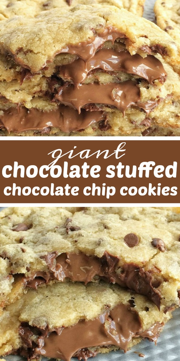 Giant Chocolate Stuffed Chocolate Chip Cookies | Chocolate Chip Cookies | Cookie Recipe | Giant chocolate chip cookies that are stuffed with Hershey chocolate! The best chocolate chip cookie dough loaded with mini chocolate chips and then stuffed with more chocolate. These are actually very simple to make! #cookies #cookierecipes #dessert #easyrecipe #chocolate #chocolaterecipes #chocolatechipcookies