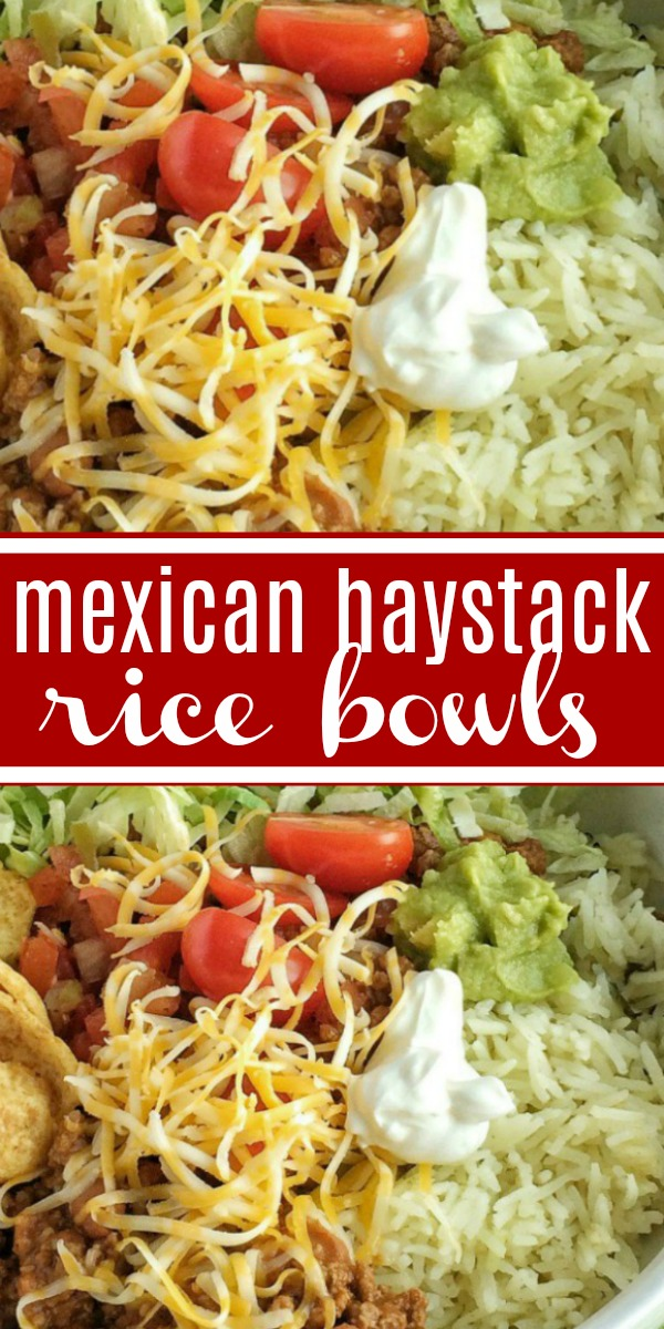 Mexican Haystack Rice Bowls | Dinner | One Pot | Rice Bowls | Mexican haystack rice bowls are a one pot dinner with a flavorful beef mixture seasoned to perfection. Build your rice bowl with cilantro lime rice, seasoned beef, and then pile high with all your favorite toppings. Don't forget the Fritos corn chips. They make this dish spectacular! #dinner #easyrecipe #dinnerrecipes #mexicanfood #ricebowls