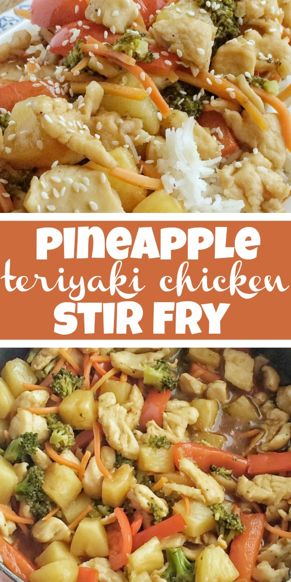 Pineapple Teriyaki Chicken Stir Fry | Chicken Stir Fry Recipe | Vegetables and chicken simmer in a homemade pineapple teriyaki sauce that is so simple to make. Serve over some rice and dinner is ready. This one pot chicken stir fry is a 30 minute meal that is bursting with flavor and cooks in one pan on the stove top! #dinnerrecipe #30minutedinner #chicken #stirfry #teriyakichicken #onepot #recipeoftheday #easyrecipe #chickenstirfry