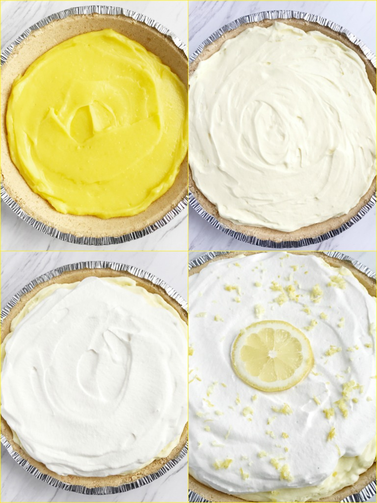 no bake} Triple Layer Lemon Pudding Pie - Together as Family