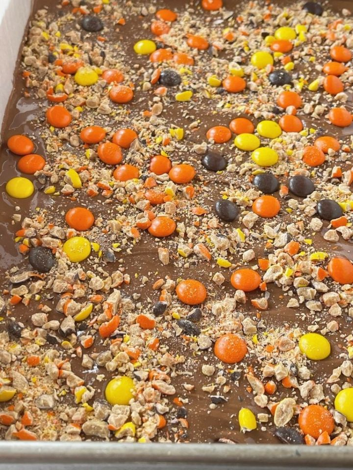 A pan of Reese's Pieces peanut butter bars
