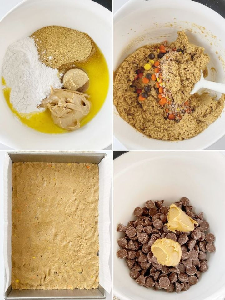 How to make no bake Reese's Pieces peanut butter bars with step by step picture instructions.