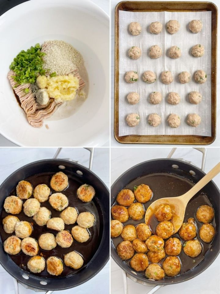4 pictures showing how to make teriyaki chicken meatballs with step-by-step pictures.