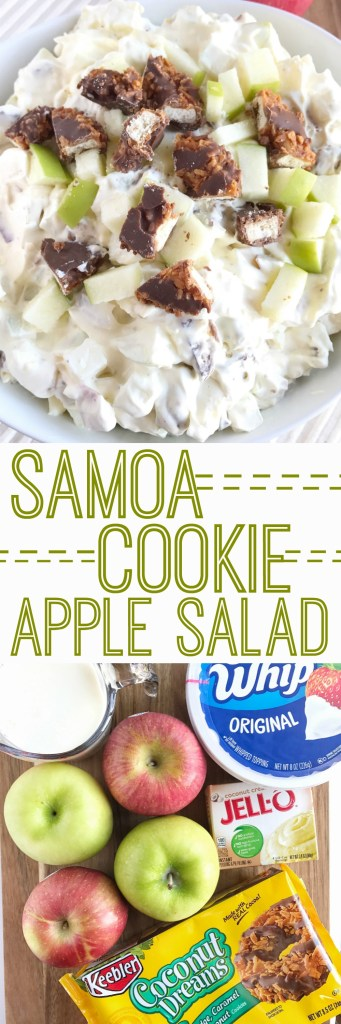 Creamy coconut pudding, cool whip, diced apples, and samoa cookies are a match made in heaven. This samoa cookie apple salad is perfect for a summer BBQ, potluck, dessert, or a side dish! There is not a single person who does not like this.