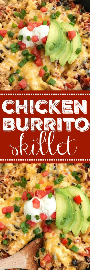 Chicken Burrito Skillet | 30 Minute Dinner | Skillet Recipes | One Pot | One Pan | Mexican Food | Chicken Burrito | www.togetherasfamily.com #chickenrecipes #easydinnerrecipes #mexicanfood