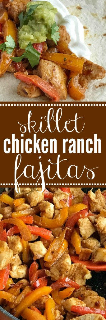 Skillet Chicken Ranch Fajitas   30 minute dinner   One pan   Chunks of chicken, onion, and sliced peppers cook in one pan on the stove top. Mix in some flavorful spices and ranch dressing for the best 30 minute meal. These skillet chicken ranch fajitas are perfect for a busy weeknight.