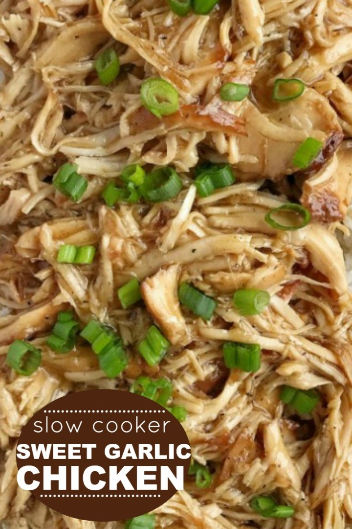 Slow Cooker Sweet Garlic Chicken | Garlic Chicken Recipe | Slow Cooker Dinner Recipes | Sweet Garlic Chicken is an easy, dump & go, crock pot dinner recipe. Boneless, skinless chicken breasts cook in an easy homemade sweet garlic sauce all day. Serve over rice and garnish with green onions. #crockpotrecipes #slowcookerrecipes #dinner #easydinnerideas #garlicchicken #chickenbreast #recipeoftheday