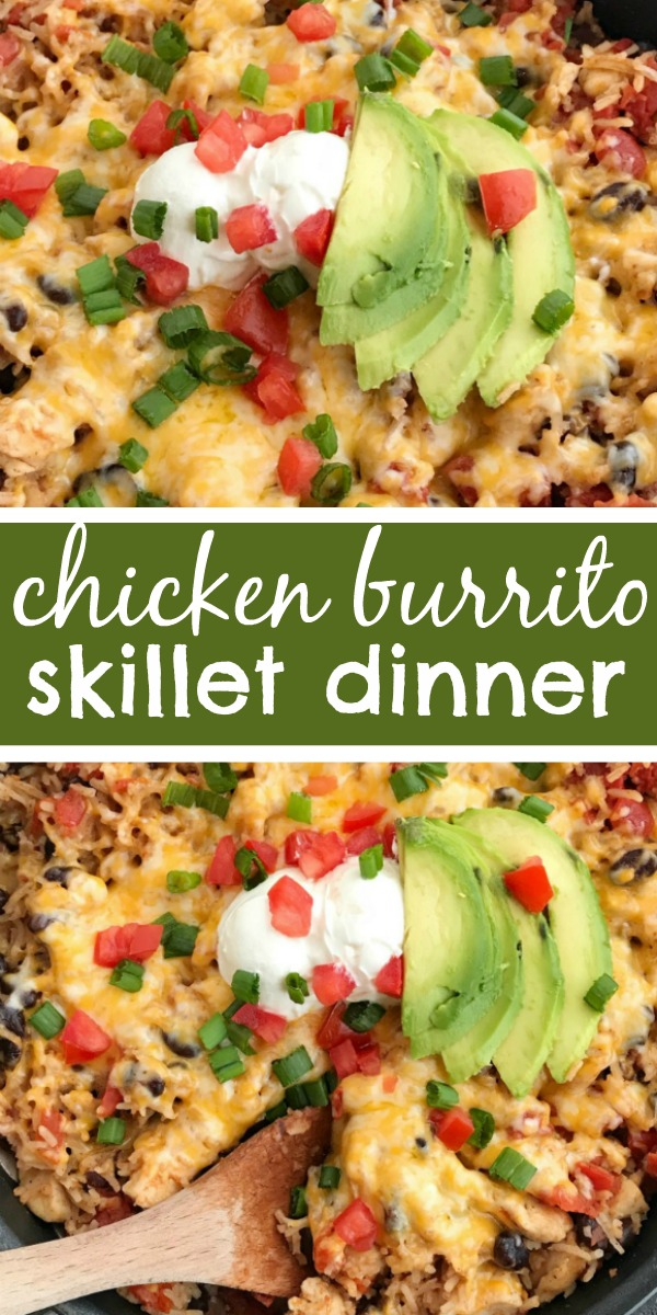 Chicken Burrito Skillet | Chicken | Dinner Recipe | One pan | Skillet Pan | This easy chicken burrito skillet cooks in one pan on the stove top. Your favorite burrito ingredients are cooked up in one skillet pan. Tender chunked chicken, cheese, rice, beans, and seasonings simmer and cook to perfection in just 30 minutes! #dinnerrecipe #chicken #onepandinnerrecipe #onepan #burritos