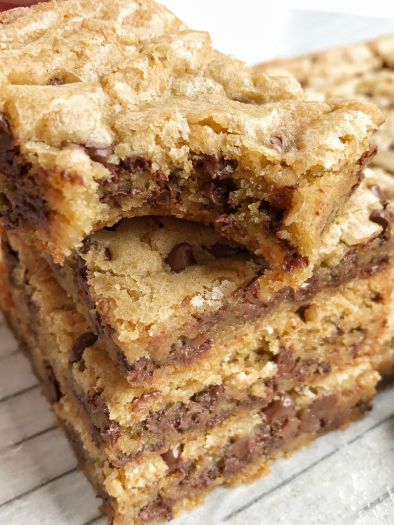 Chocolate chip cookie blondie bars are a chewy cookie bar loaded with chocolate chips and the best dessert! These bars bake in one pan and are so simple to make. They bake up perfectly sweet & chewy each time with crisp, buttery edges and a super soft middle. If you love chocolate chip cookies then you will want to make these.