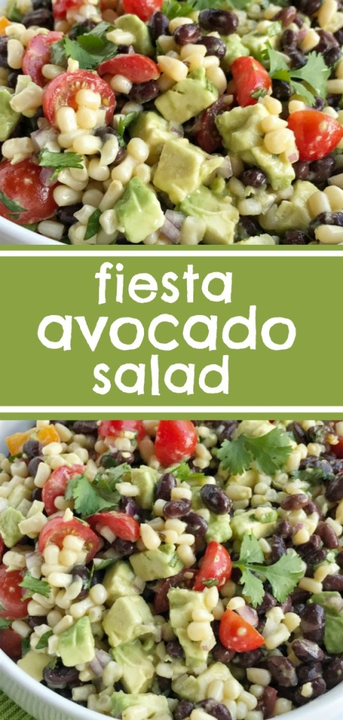 Fiesta Avocado Salad | Fiesta avocado salad is loaded with avocados, corn, black beans, tomatoes, red onion, and cilantro covered in an easy citrus & olive oil dressing. This is the perfect side dish to any Mexican dinner, topping for tacos, nachos, inside burritos, or as a dip with tortilla chips. #avocado #salad #sidedish #easyrecipe