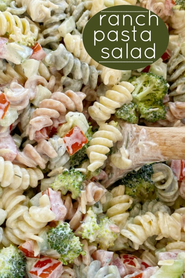 Pasta Salad Recipe | Ranch Pasta Salad is the best pasta salad side dish! Rotini noodles, cucumber, tomato, broccoli, parmesan cheese with an easy dressing of ranch. Everyone will love this pasta salad! #pastasalad #ranch #sidedishrecipes #pastasaladrecipes #easyrecipe #salads #recipeoftheday