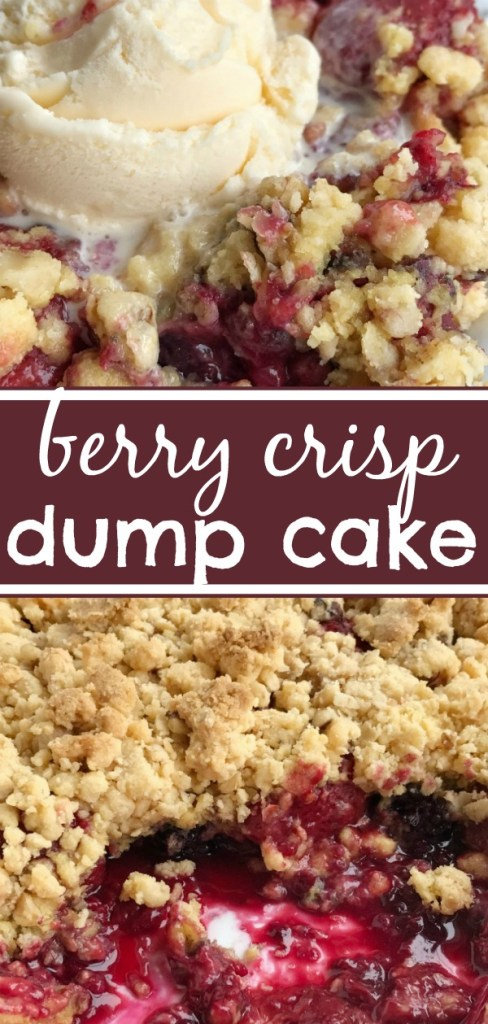Berry Crisp Dump Cake | Berry crisp dump cake is only 5 ingredients and one pan! Juicy mixed berries covered in an easy cake mix, oatmeal, walnuts, and melted butter mixture. Serve warm with a scoop of vanilla ice cream for a delicious dessert. #easydessertrecipe #dessert