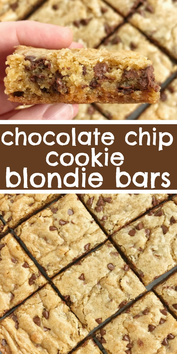 Chocolate Chip Cookie Blondies   Blondies   Blondie Recipe   The best blondies are a chewy cookie bar loaded with chocolate chips! These bars bake in one pan and are so simple to make. They bake up perfectly sweet & chewy each time with crisp, buttery edges and a super soft middle. #chocolatechipcookies #easydessertrecipe #easyrecipes #cookiebars #blondies