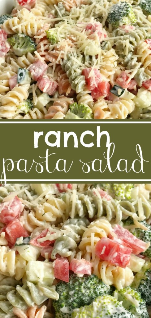 Ranch Pasta Salad | Side Dish | Pasta Salad | Ranch pasta salad is an easy and delicious side dish for summer picnics and bbq's. Only 6 ingredients and minutes to prepare. Tender pasta, cucumber, broccoli, tomatoes, and parmesan cheese covered in ranch dressing. So simple! #salad #pastasalad #sidedish
