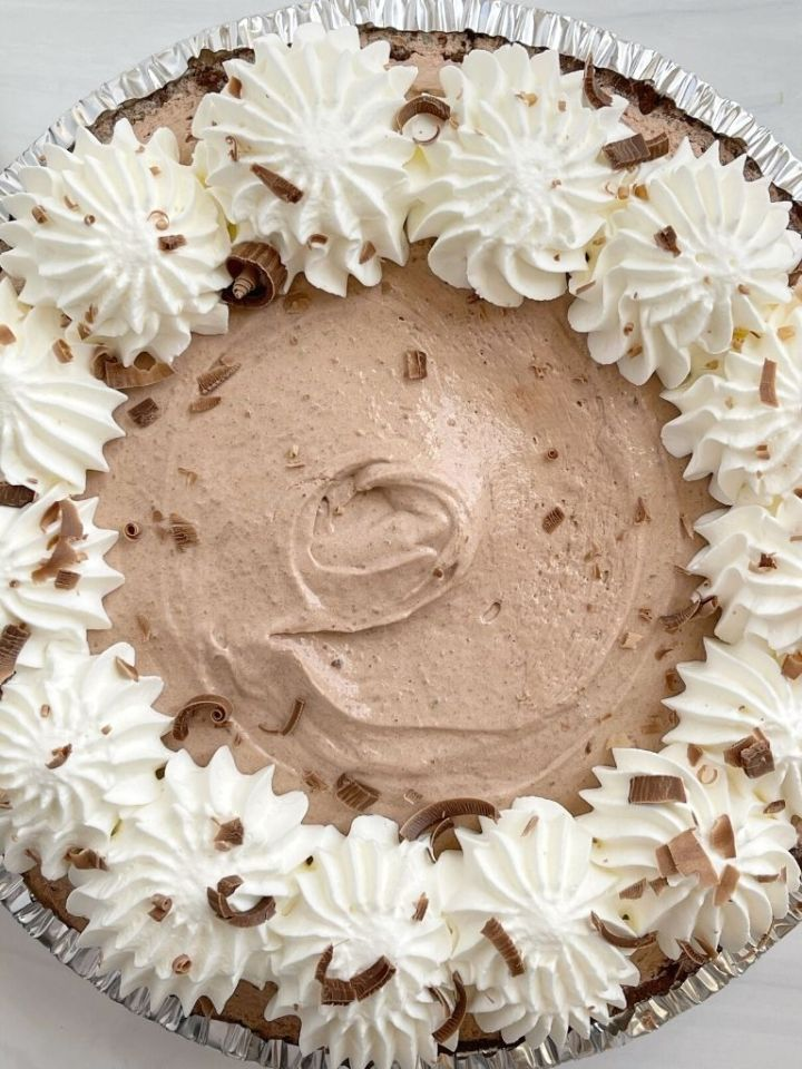A picture of double chocolate cream pie with chocolate instant pudding and white chocolate instant pudding mix.