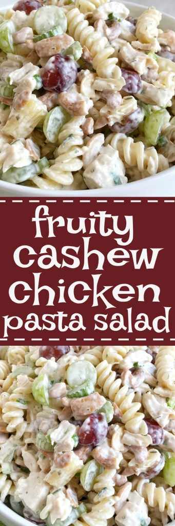 Fruity cashew chicken pasta salad is loaded with fruit, cashew, tender chunked chicken, creamy dressing, and spiral pasta. Hearty enough for a main dish or a great side dish for dinner, potluck, or BBQ.