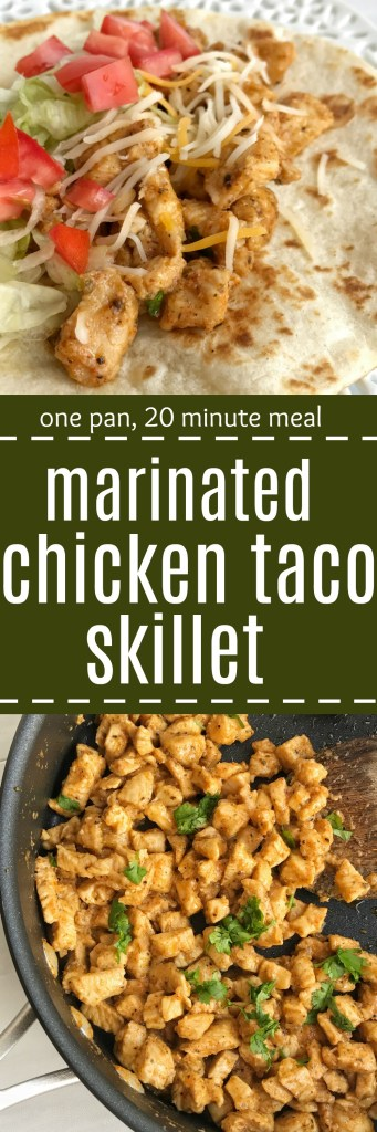 Take ordinary chicken tacos up a notch with these flavorful, tender, marinated chicken tacos. Chunks of chicken marinate in a flavorful mixture of lime juice, spices, brown sugar, and oil. Cooks in one skillet pan on the stove top. Serve with tortillas and your favorite taco toppings. This is an easy, quick, 20 minute dinner!