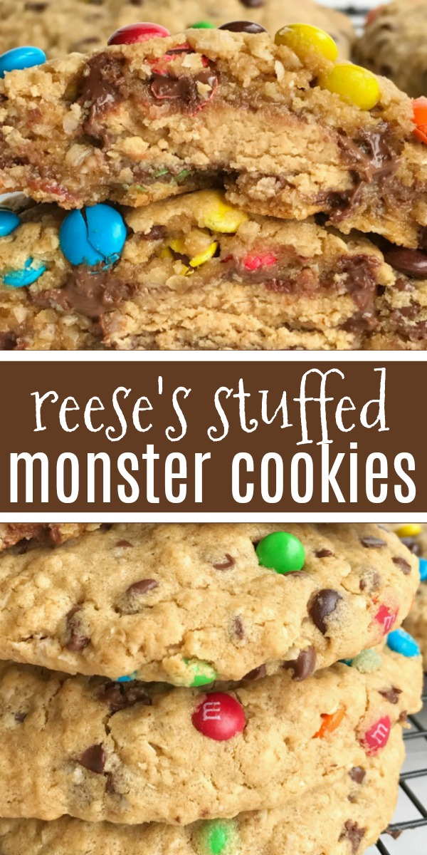 Giant Reese's Stuffed Monster Cookies | Giant Reese's stuffed monster cookies are the most delicious & indulgent dessert! Cookies bigger than your hand that are loaded with oats, peanut butter, chocolate chips, mini m&m's. The best part is the Reese's peanut butter cup stuffed inside the thick , soft baked & chewy monster cookie. #cookies #monstercookies #easydessertrecipe #dessert