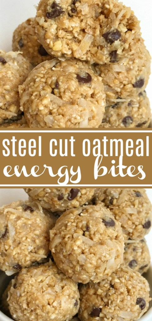 Steel Cut Oatmeal Energy Bites | Steel Cut Oat Energy Balls are an easy, 5 ingredient healthy snack. Steel cut oats, honey, peanut butter, chocolate chips, and coconut.