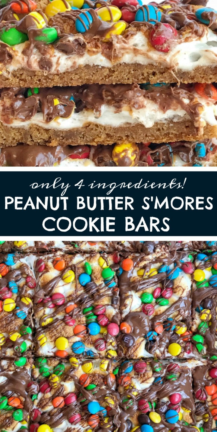 Peanut Butter Smores Cookie Bars | Smores Recipe | You only need 4 ingredients for deliciously gooey peanut butter smores cookies bars. Cookie dough, marshmallows, chocolate candies, and a chocolate drizzle! #smoresrecipes #easydessertrecipe #cookiebars #recipeoftheday #dessertideas #smores