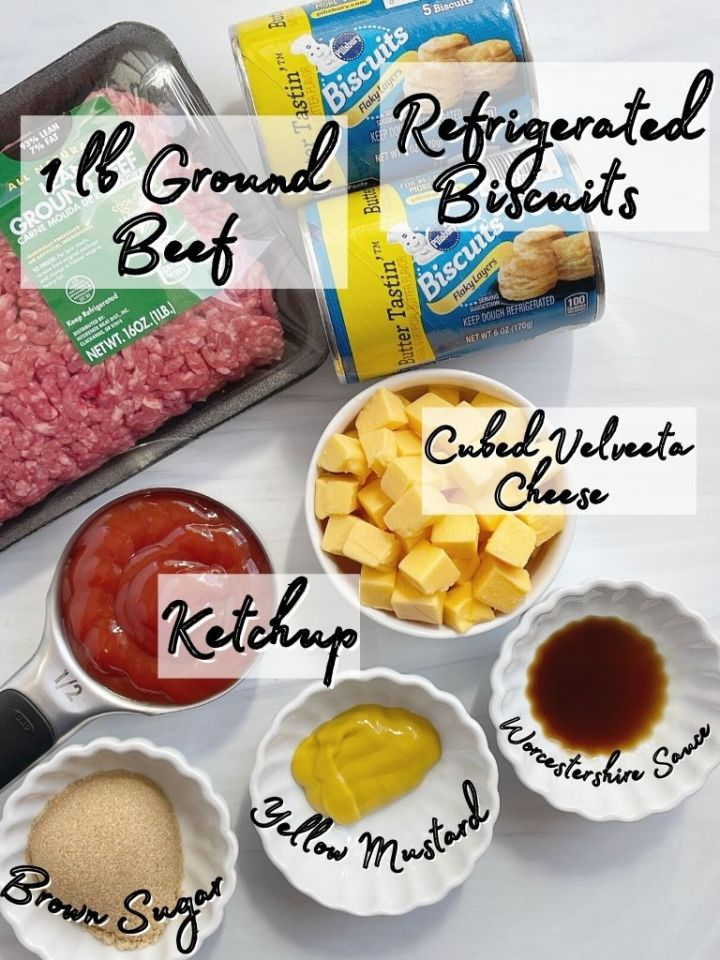 Ingredients needed to make cheeseburger biscuit cups for dinner.