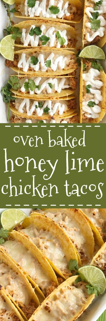Switch up taco night with these oven baked honey lime chicken tacos. Shredded chicken seasoned with a honey lime mixture and baked in corn taco shells. Load up on the cheese for a crispy taco with gooey cheese and serve with your favorite taco toppings. Dinner can be on the table in 30 minutes with this one and it's always a favorite.