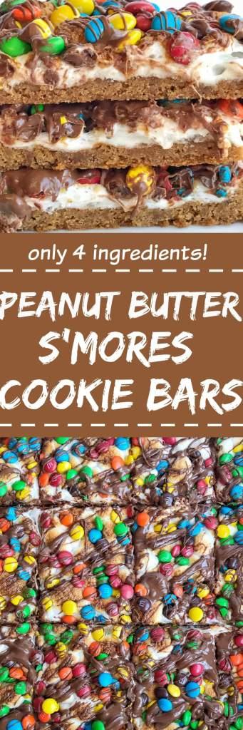 Four ingredients are all you need for this super easy, quick to make, and delicious peanut butter s'mores cookie bars! Get the kids involved and make this fun dessert in a matter of minutes. Tastes just like a toasty s'mores with peanut butter and chocolate candies   togetherasfamily.com