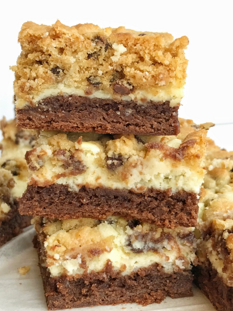 Chocolate Chip Cookie Cheesecake Brownie Bars - Together as Family