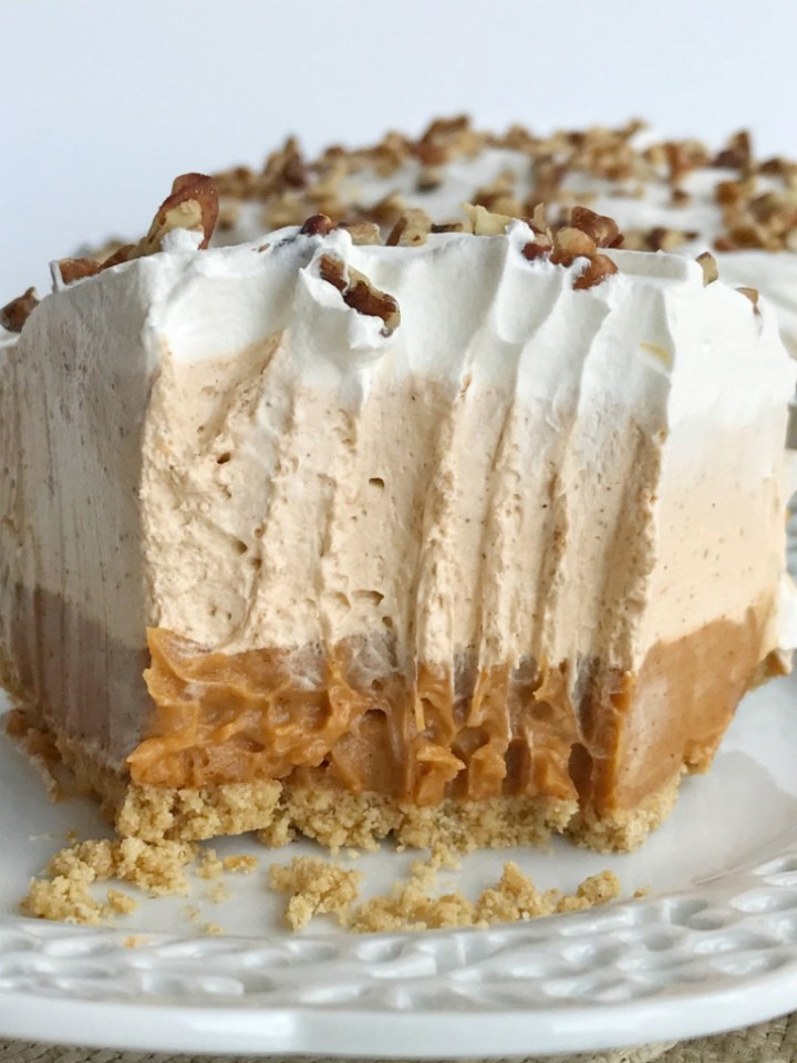 No bake triple layer pumpkin spice pudding pie is a delicious twist to classic pumpkin pie. It's a creamy, no bake pie with three layers of pumpkin spice flavor and only 5 ingredients. Perfect for Thanksgiving dinner because it can be made the day before