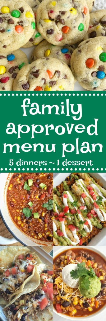 Family menu plan that everyone will love! These have all been kitchen tested over and over again, and will help you get dinner on the table. Easy, family approved, simple ingredients, and delicious food to enjoy together | www.togetherasfamily.com #recipes #mealplanning #dinnerrecipes